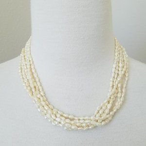 Sterling Silver & 6 Strand Seed Pearl Set